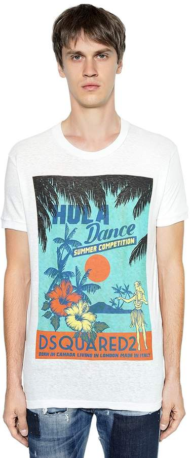 DSQUARED2 Hula Dance Printed Cotton Jersey T-Shirt