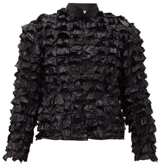 Comme des Garcons Ruffled Satin Coat - Womens - Black