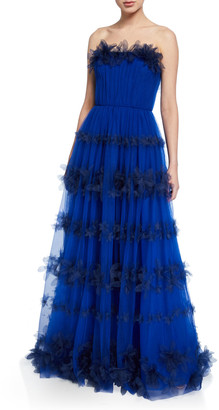Marchesa Strapless 3D Floral Stripe Tulle Ball Gown