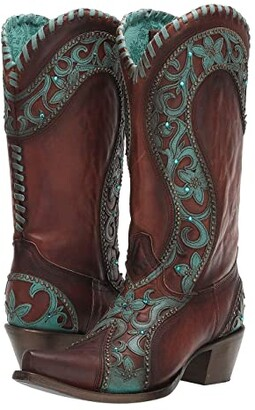Corral Boots E1538 (Chocolate/Turquoise) Women's Boots