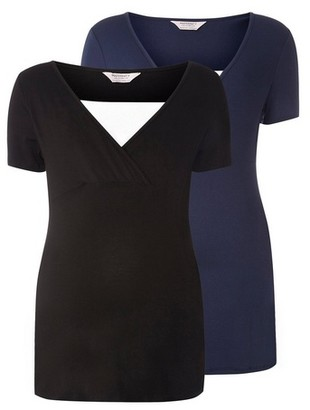 Dorothy Perkins Womens **Maternity Black And Navy Two Pack Nursing T
