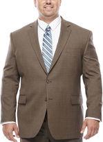 STAFFORD Stafford Travel Wool Blend Stretch Brown Sharkskin - Big & Tall Jacket