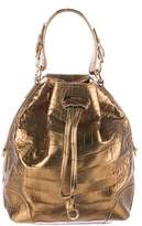 Ralph Lauren Metallic Crocodile Drawstring Tote