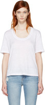 Frame White Linen U-neck T-shirt