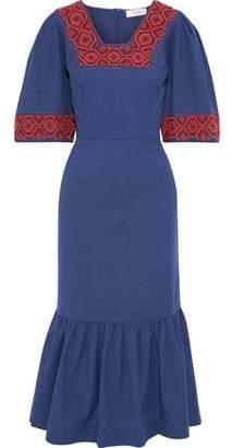 Sea Leah Embroidered Cotton-canvas Midi Dress