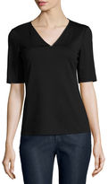 Lafayette 148 New York Short-Sleeve V-Neck Top w/ Chain Detail, Plus Size