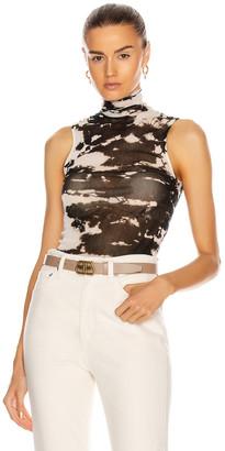 Enza Costa Cotton Mesh Sleeveless Turtleneck Top in Black Ionic   FWRD