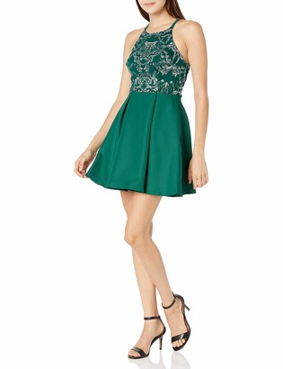 Speechless Women's High Neck Sleeveless Fit and Flare Party Dress