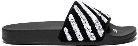 Off-White Off White Flyknit Rubber Slides - Mens - Black White