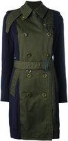 Sacai contrast sleeve trench coat - women - Cotton - III