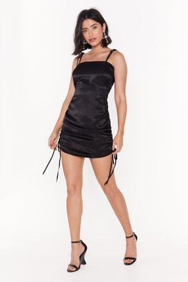 Nasty Gal Womens The Ruche-ure is Ours Satin Mini Dress - black - 8