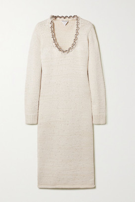 Bottega Veneta Chain-embellished Knitted Midi Dress - White