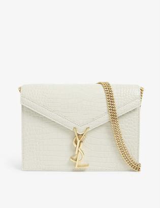 Saint Laurent Cassandra croc-embossed leather shoulder bag