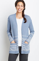 J. Jill Striped Open-Front Cardigan