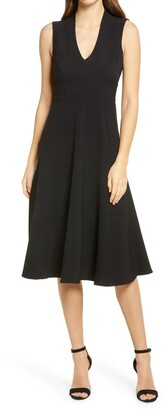 Eliza J Sleeveless V-Neck Fit & Flare Crepe Midi Dress
