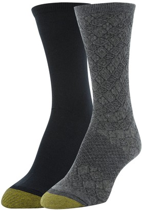 Gold Toe Women's Little Vatican and Flat Knit Crew Socks 2 Pairs