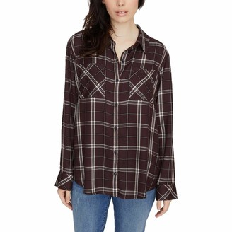Sanctuary Womens Burgundy Plaid Long Sleeve Collared Button Up Top UK Size:4