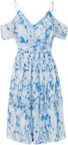 Wolfwhistle Wolf & Whistle Blue Floral Cold Shoulder Frill Dress