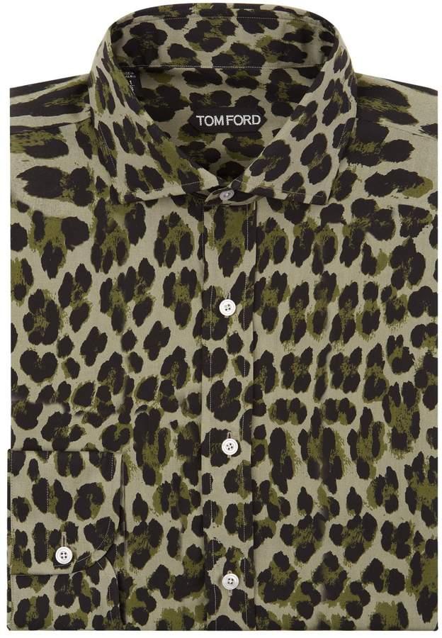 Tom Ford Leopard Print Slim Fit Shirt