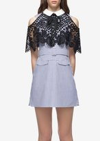 Self-Portrait Self Portrait Shirting Lace Cape Mini Dress Navy