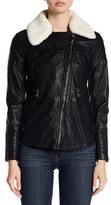 GUESS Faux Fur Trim Faux Leather Jacket