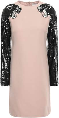 Valentino Embellished Virgin Wool And Silk-blend Mini Dress