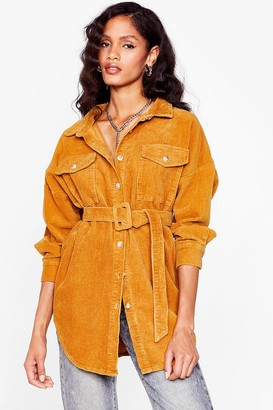 Nasty Gal Womens Going According to Plan Belted Longline Jacket - Mustard