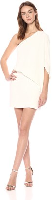 Halston Women's One Shoulder Asymmetrical Sleeve Dress