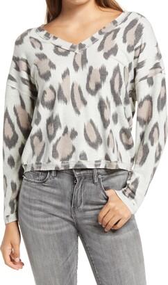 Socialite Leopard Print Cozy V-Neck Top