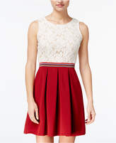 Speechless Juniors' Lace Pleated Fit & Flare Dress