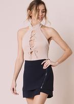 Missy Empire Nikki Navy Zip Up Front Mini Skirt