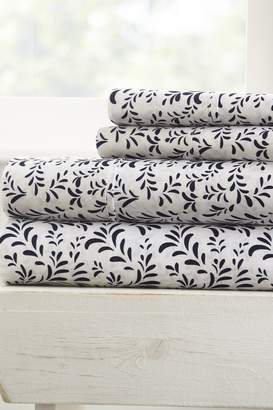 IENJOY HOME The Home Spun Premium Ultra Burst of Vines Pattern 4-Piece King Bed Sheet Set - Navy