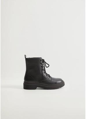 MANGO Girls Leather Lace Up Boots - Black