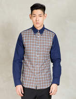 N.Hoolywood Brown L/s Solid Sleeve Check Body Shirt