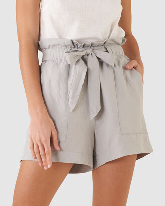 Amelius - Women's Silver Shorts - Sahara Linen Shorts - Size One Size, 6 at The Iconic