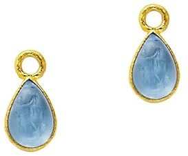Elizabeth Locke Venetian Glass Intaglio 19K Yellow Gold Small Pear-Shaped Cerulean Earring Charms