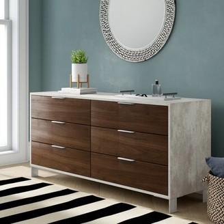 Lipscomb 6 Drawer Double Dresser Brayden Studio Color: Dark Walnut / Gray