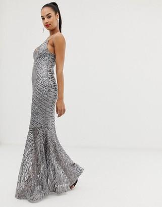 Club L London swirl detail sequin maxi dress-Silver