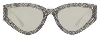 Christian Dior Catstyledior1s Crystal-studded Cat-eye Sunglasses - Womens - Black