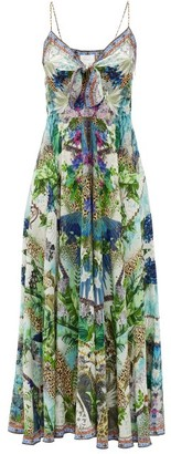 Camilla Leopard And Floral-print Silk Maxi Dress - White Print