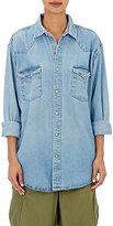 Icons Women's Snap-Front Denim Shirt-BLUE