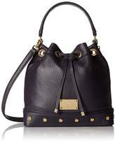Juicy Couture Black Label Bucket Bag with Drawstring Closure and Studded Grommets on the Bottom