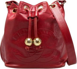 Chanel Red Leather Vintage CC Drawstring Bucket Bag