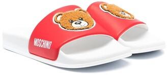 MOSCHINO BAMBINO TEEN Teddy logo patch slides