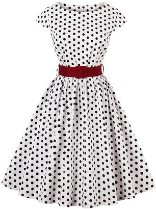 Axoe Womens Classy Polka Dot Vintage Style Cocktail Dresses with Belt White Size 14