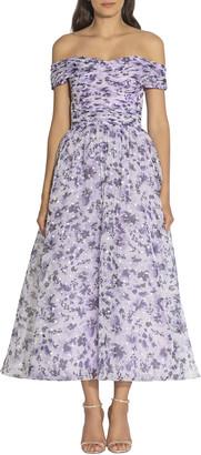 Shoshanna Meraki Lilac Floral Off-the-Shoulder Tea-Length Dress