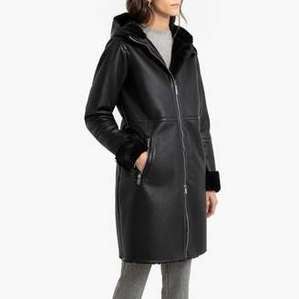 Anne Weyburn Long Hooded Faux Leather Coat with Faux Fur Trim