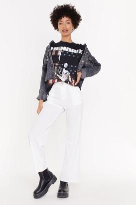 Nasty Gal Womens Suit Yourself High-Waisted Straight Leg Trousers - White - L