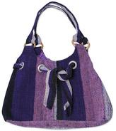 Hand Woven Purple and Lilac Wool Hobo Bag with 3 Pockets, 'Dance Cumbe-cumbe'