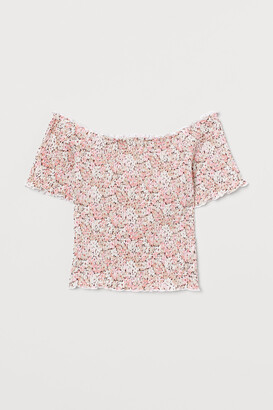 H&M Smocked Off-the-shoulder Top